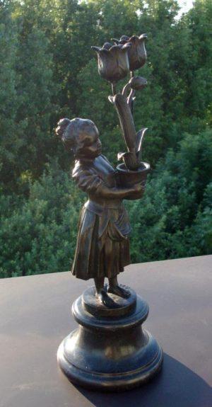 Art Deco Bronze Statue 'Flower Girl Candle Holder'