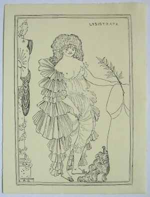 Aubrey Beardsley 'Lysistrata' Pen & Ink Drawing – 1896