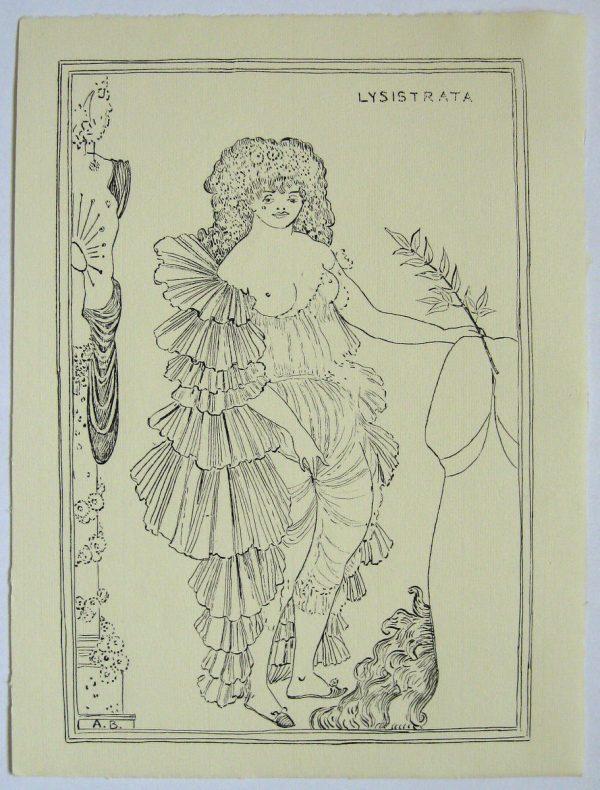 AUBREY BEARDSLEY 1896 PEN & INK DRAWING 'LYSISTRATA' PHASE 2 STUDY