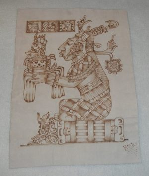 Aztec Drawing Mexico – Etching (Pyrography) On Leather