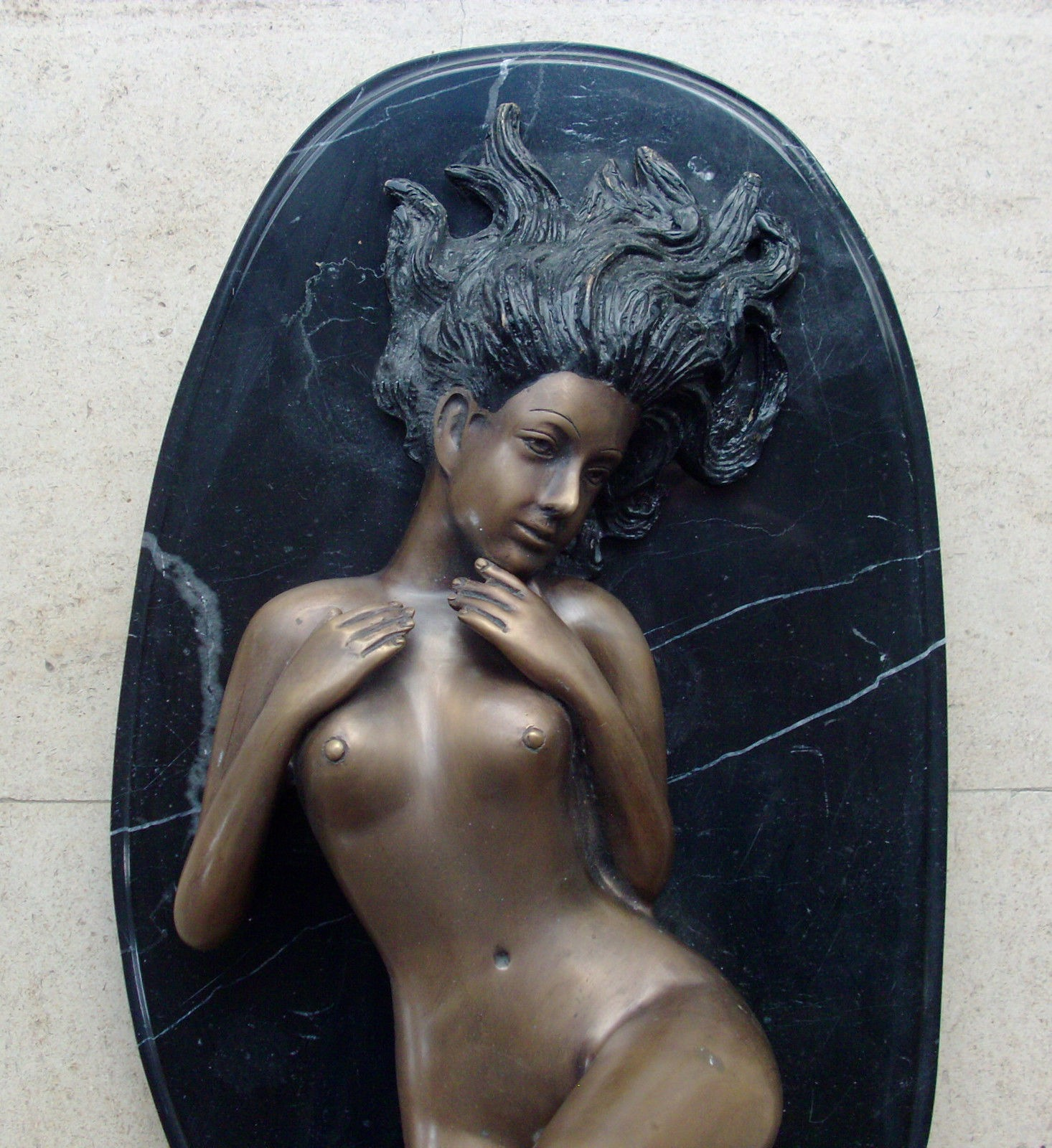 Bronze Statue On Marble Base 'Lying Nude Woman'
