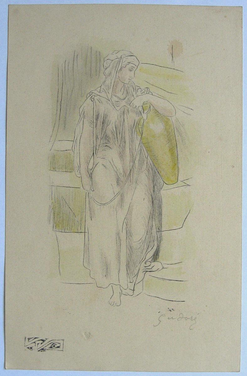 Gustave Doré Art Pencil Study 'Samaritan Woman'