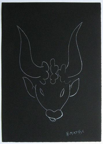 Henri Matisse White Ink Study 'Bull's Head'