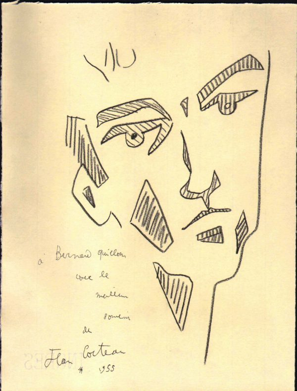 JEAN COCTEAU 1955 SIGNED PENCIL DRAWING ON INGRES
