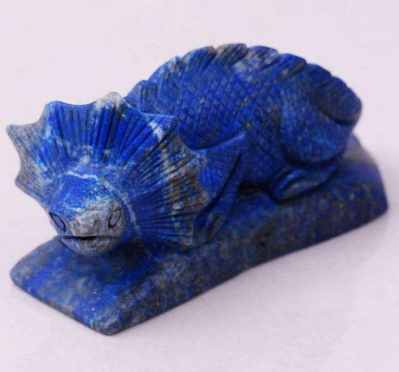 Lapis Lazuli Collared Lizard Miniature – 19th Century