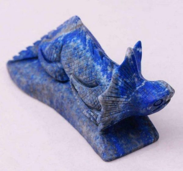 Hand Carved Lapis Lazuli Collared Lizard Miniature - Japan Authentic 19th Century