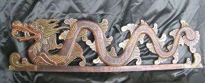 Hand Carved Dragon Figure in Suar Oak Wood