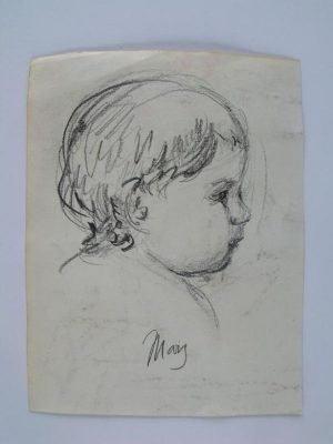 Mary Stevenson Cassatt 'Infant' Pencil Study