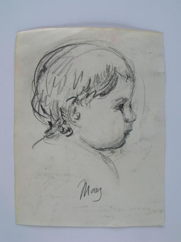 MARY STEVENSON CASSATT 'INFANT' ORIGINAL SIGNED PENCIL STUDY 1885