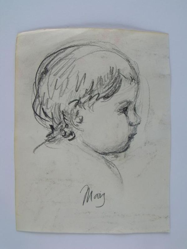 Mary Stevenson Cassatt 'Infant' Pencil Study