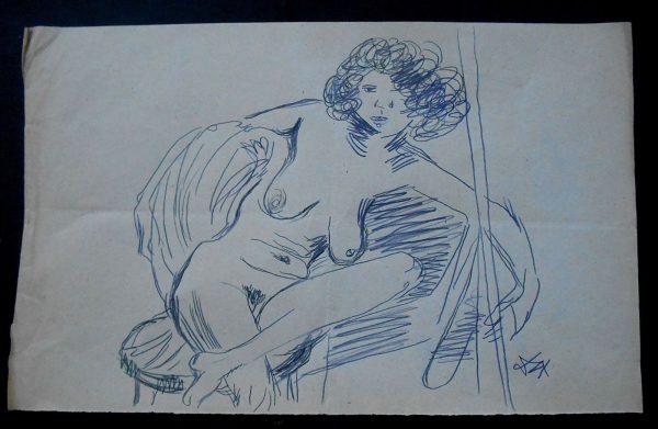 OTTO DIX APPROX. 1930 SIGNED ORIGINAL BLUE GRAPHITE STUDY 'ERNA'