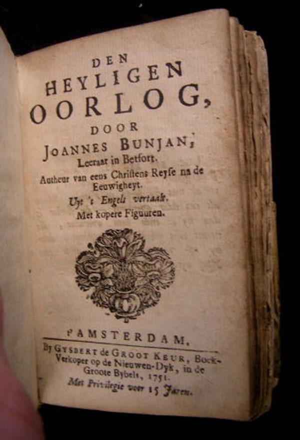1751 DEN HEYLIGEN OORLOG - JOANNES BUNJAN (AKA JOHN BUNYAN) A'DAM - VELLUM