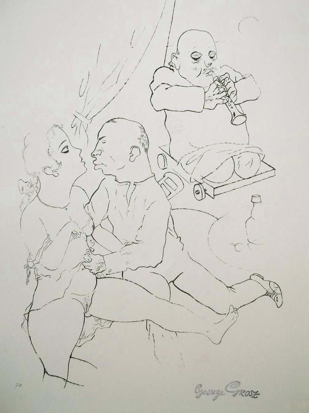 George Grosz Art – 1923 Litho Print 'Ständchen'