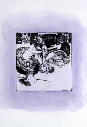 Franz Von Bayros Art – 2009 Di-Litho & Oil On Paper