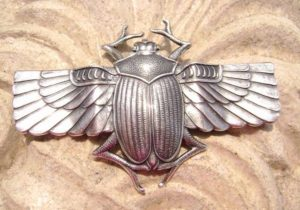 Egyptian Scarab Silver Plated Ornament