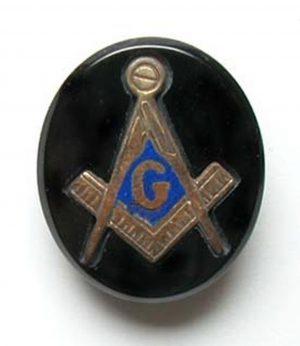 Black Onyx Vintage Jewelry – Gold Freemasonry Inlay