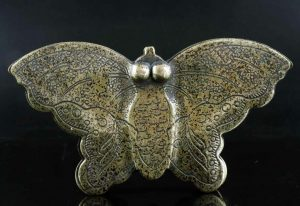 Lady's butterfly Ink Box Hand Carved in Bronze