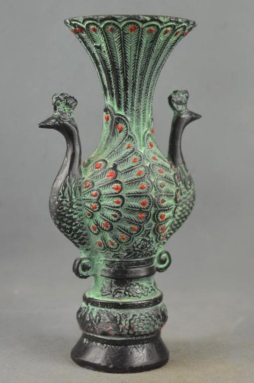 Handmade Bronze Vase Double Face Tail Peacock