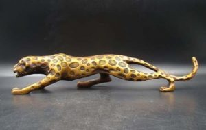 Brass Statue of Leaping Leopard