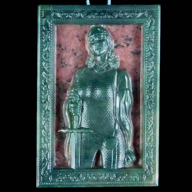 Green Jasper & Rhodonite Pendant 'Lady Warrior'