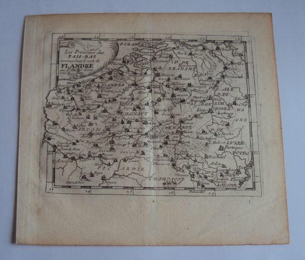 Antique Copper Etching Map 'Flandre' Pierre Du Val d'Abbeville