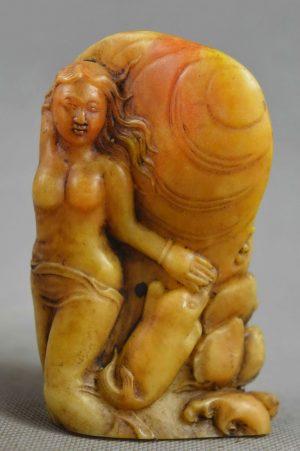 Hand Carved Shoushan Nude Lady & Mythological Beast