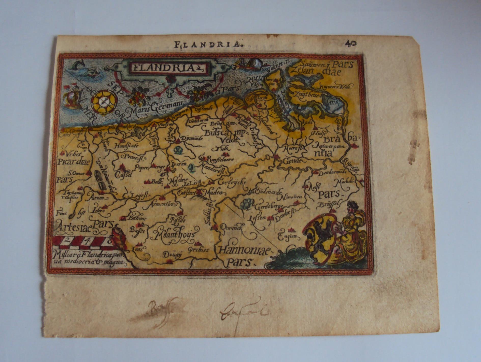 Antique Copper Etching Map 'Flandres
