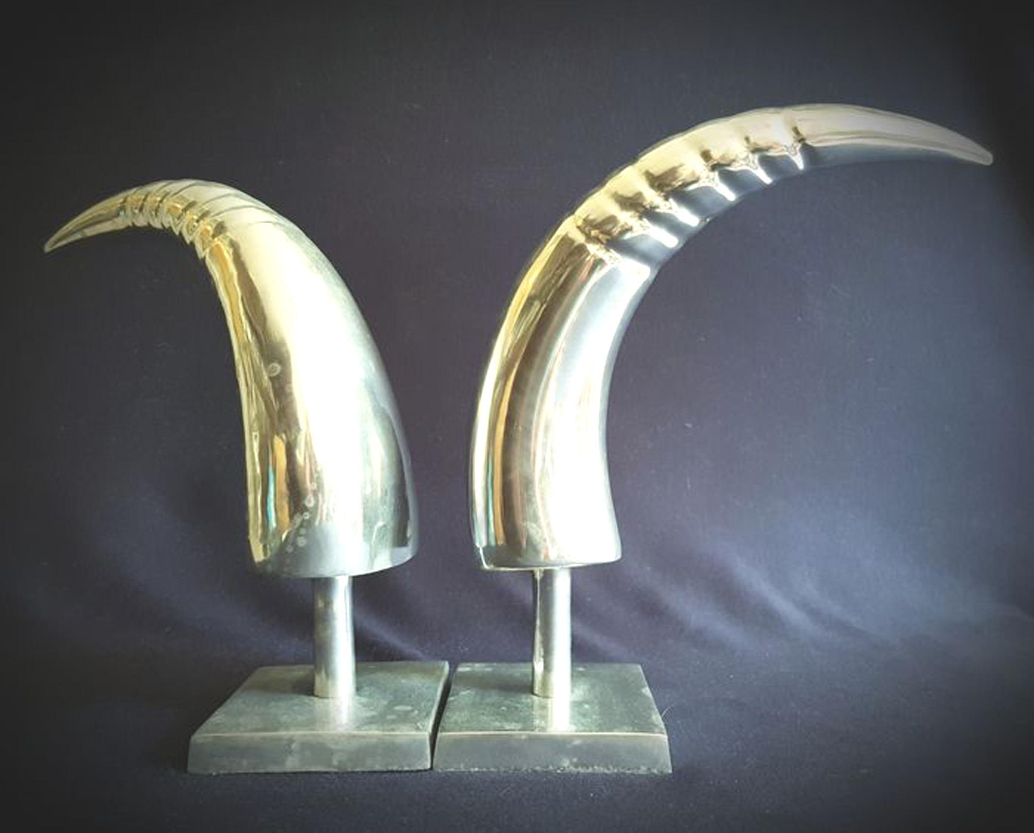 Art Deco Aluminum Pair of Horns