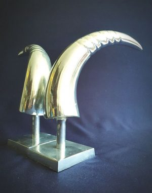 Art Deco Aluminum Pair of Horns