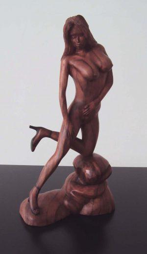 Contemporary Mahogany Wood Sculpture