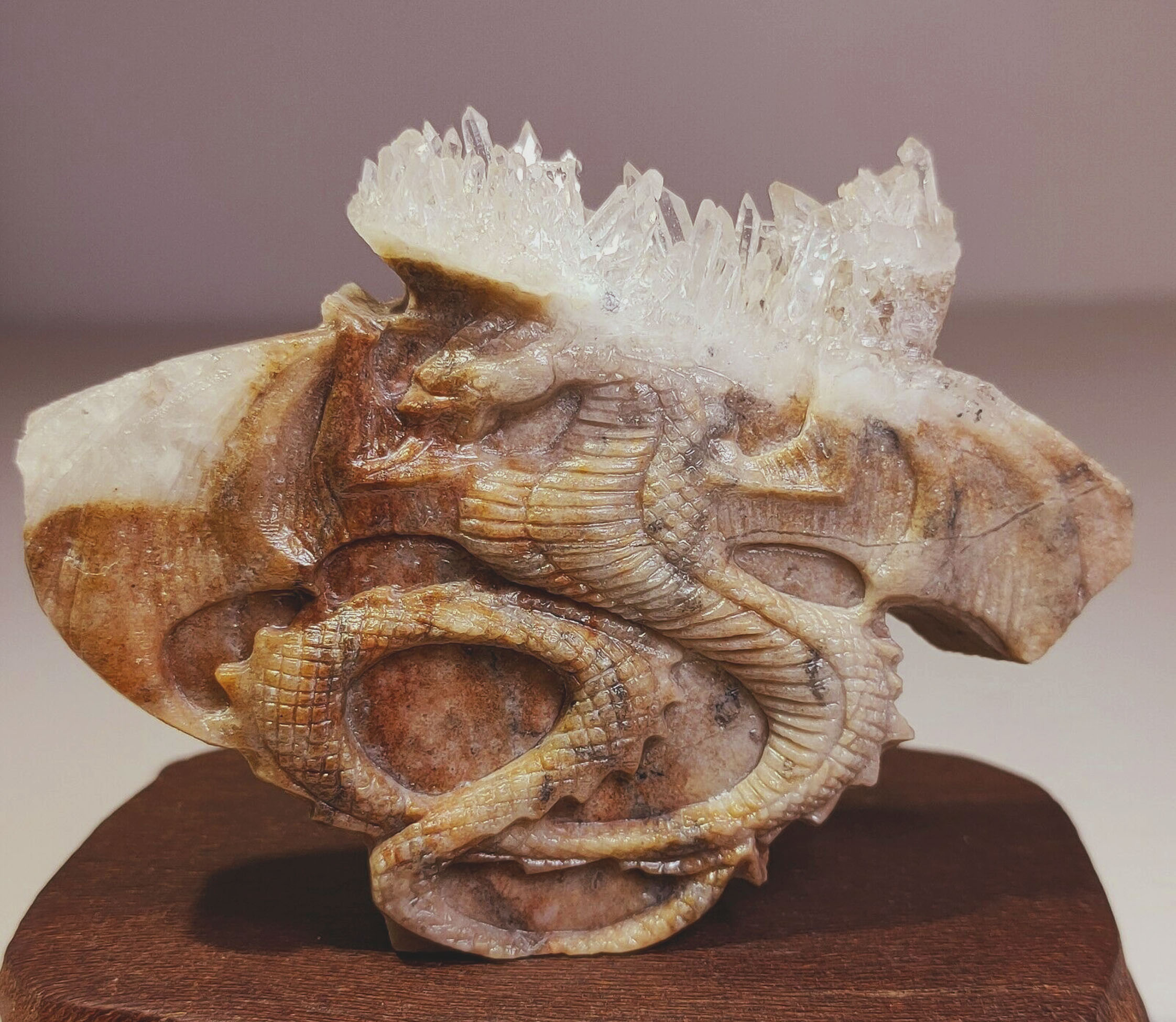 Hand Carved Statue 'Winged Dragon'