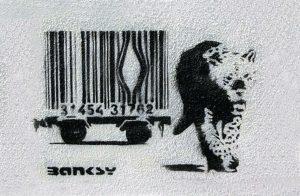 Banksy Large Canvas Print 'Barcode Leopard'