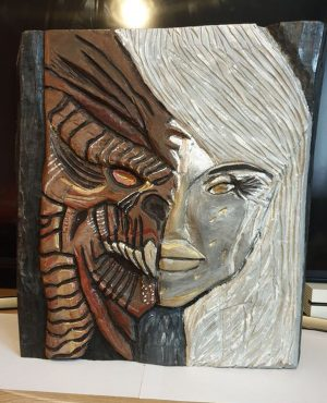 Contemporary Hand Carved Artwork 'Two faces of women'
