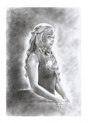 Daenerys Targaryen Drawing by Adriana Tavares