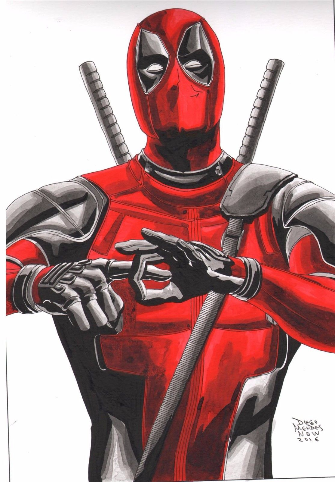Deadpool Drawing by Diego Mendes