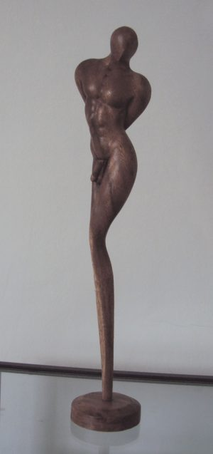 Contemporary Wood Male Sculpture