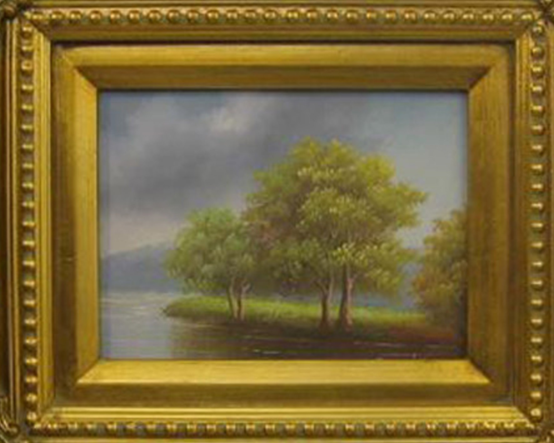 Painting on canvass 'Landscape and lake'