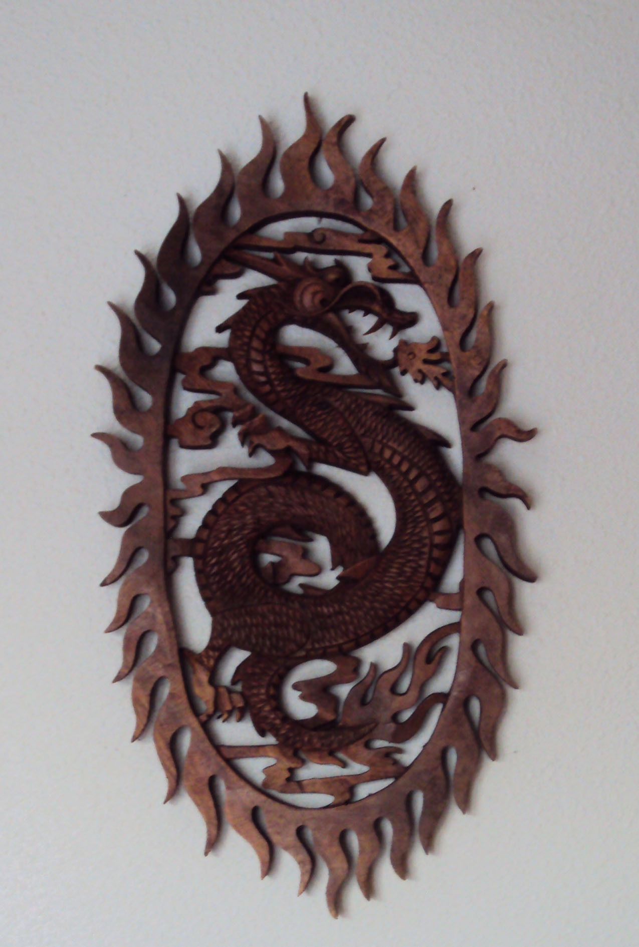Dragon Wall Mounting Sculpture in Oakwood