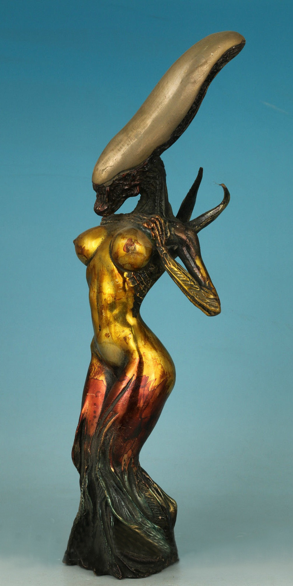 Bronze Female 'Alien' Figure Signed by H.R. Giger