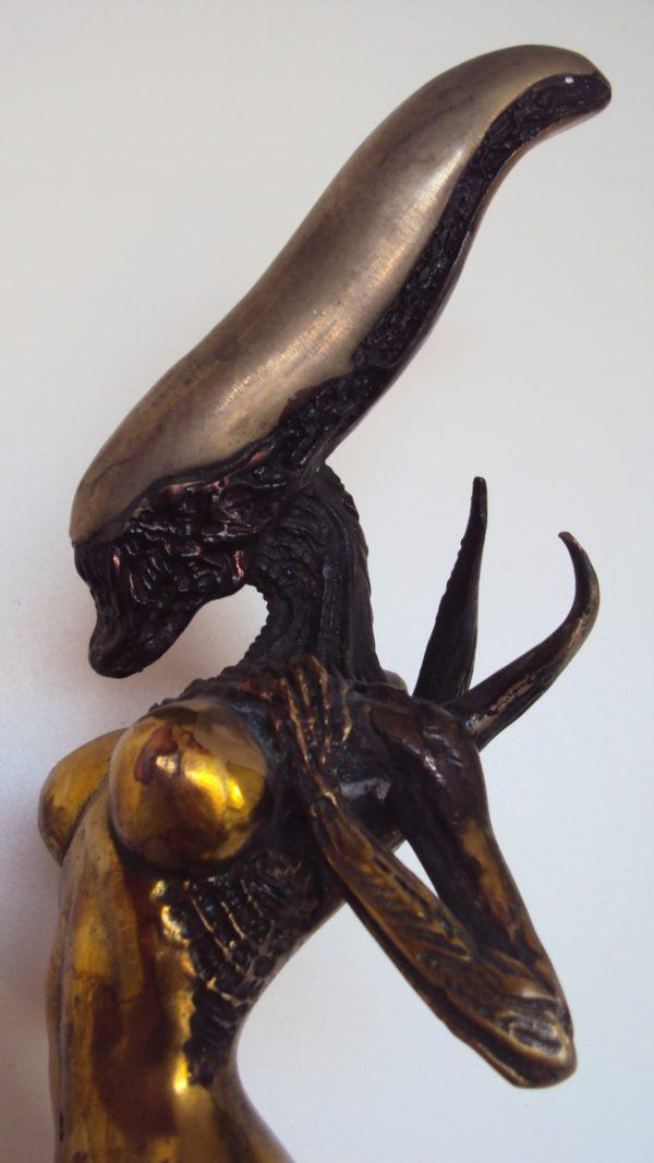 Bronze Female 'Alien' Figure Signed by H.R. Giger