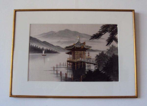 Japanese early 20th Century Enhanced Painting on Silk