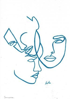 Contemporary Art – One Line Drawing by Yulia