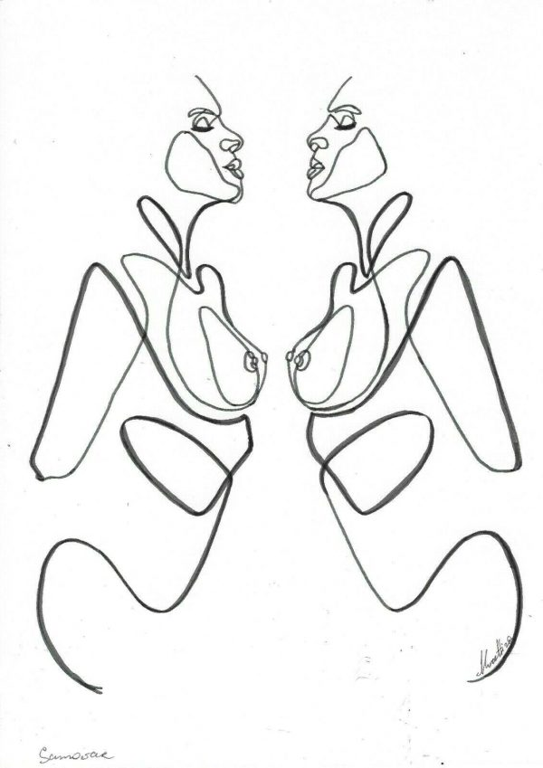 Contemporary Art - One Line Drawing by Yulia