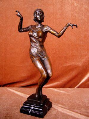 Art Deco Bronze by (Jean) Didier Debut 'Dancing Lady'